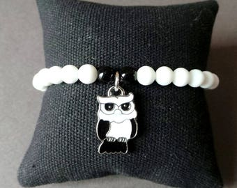 Bracelet glass beads and OWL pendant