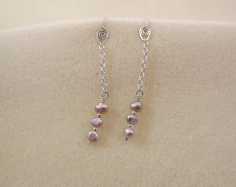 baroque freshwater pearl and sterling silver earrings