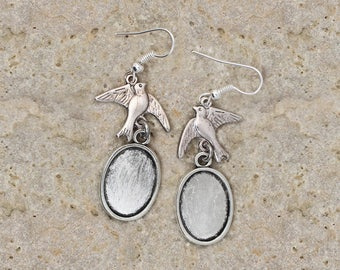 support oval cabochon 13 X 18 mm silver hoop earrings