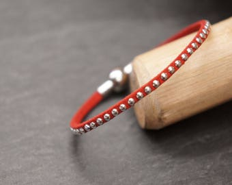Kids red rhinestone bracelet