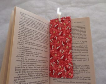 bookmarks rigid red tones with geese in cardboard and cotton
