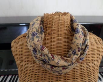 mustard beige snood with blue and Burgundy flowers