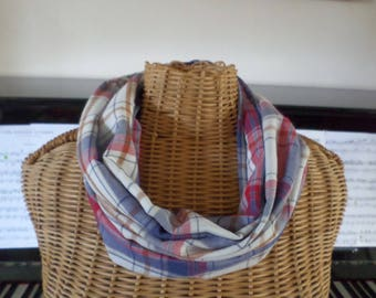 snood scarf made with a plaid cotton