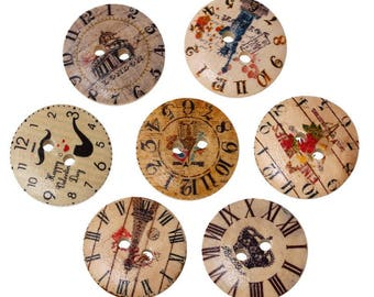 set of 10 buttons in wood clock