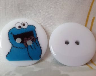 Set of 5 resin Monster blue buttons