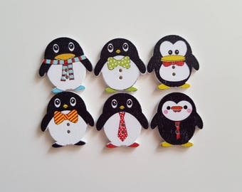 Set of 5 wooden Penguin buttons