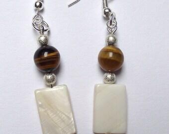 Earrings Pearl and purple Tiger eye beads.