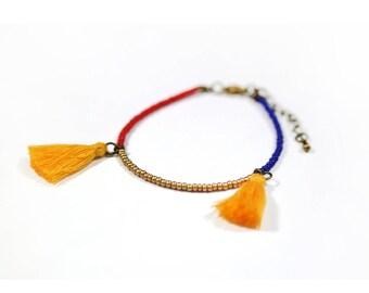 ▲BRACELETS POMPONS▲ red/blue/gold glass beads