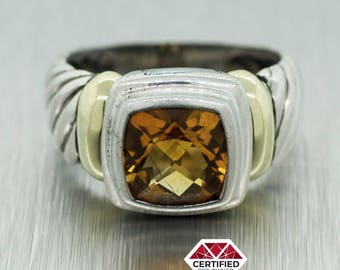 David Yurman Classic 14k Gold and Sterling Silver Citrine Cable Ring Size 6.75