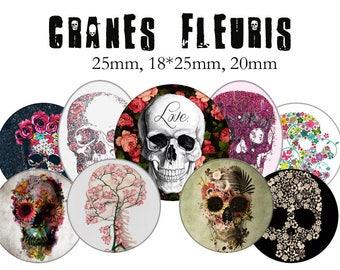 "Cabochons collage sheet / digital ""Flowery skulls, skull, flowers, bones, skeleton"" circles and ovlales"