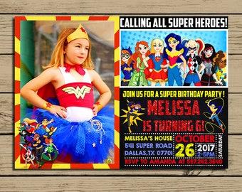 DC Superhero Girls Invitation * Dc Superhero Girls Birthday Invite With Photo* Birthday Party Invitations * Personalized * YOU PRINT