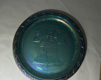Indiana Blue Carnival Glass Liberty Bell Bicentennial 1976 Collectors 8 In Plate