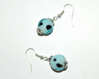 Blue earrings with polka dots
