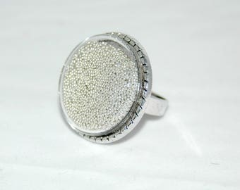 Glass bubble ring - silver Pearlescent Inclusion