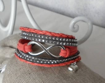 "faux leather and suede, coral and grey ""Infinity"" bracelet"