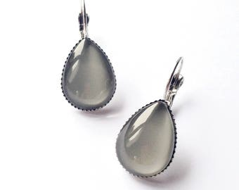 Gray colored glass cabochon earrings