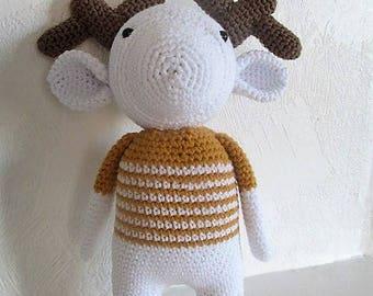 CoCo caribou crocheted, amigurumi toy, birth gift