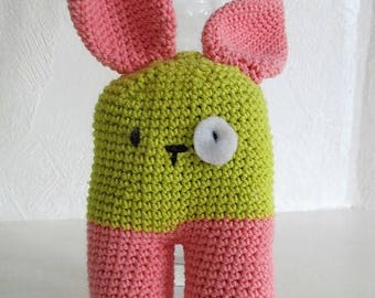 Cute fluffy Bunny Pink and green