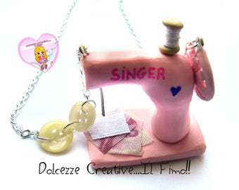 seamstress necklace - Sewing Machine - sewing fabric buttons, miniature gift idea