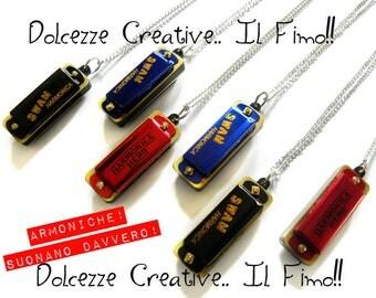 Necklace - harmonica - cute kawaii miniature - black musician