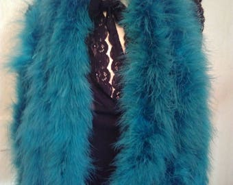 Teal colored bird feather scarf