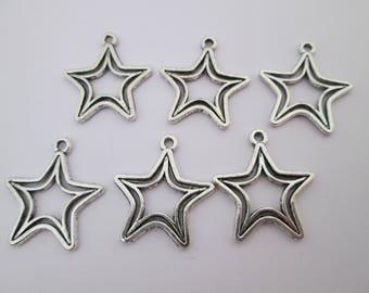 6 breloque étoile double 20 x 18 mm en métal argenté