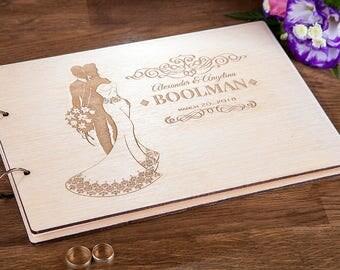 Wedding Guest Book,  Personalized Wedding Guestbook, Rustic Guest Book, Customized Wedding Book, Wedding Journal, Wedding Album, 17