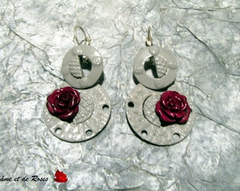 Earrings 1 grey and pink and plum