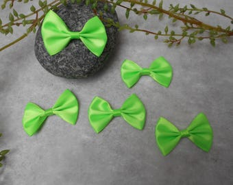 5 cm - Green - 5.20 satin bows / 3.6 cm