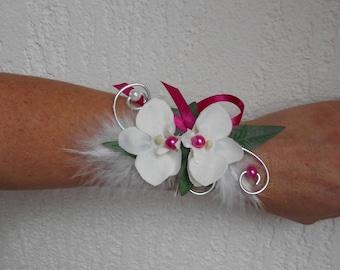 Bracelet or light - white silver and fuchsia - wedding bridal flowers