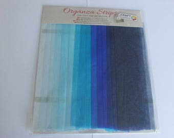 15 strips of blue ombre organza