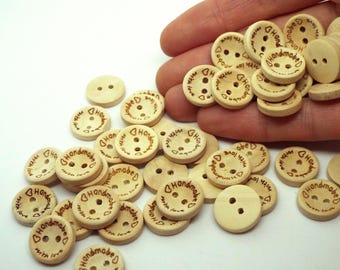 Natural 'Handmade with Love'  Round 2 hole wooden buttons 15mm