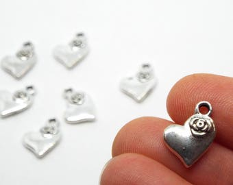 Small Love Heart RoseCharm 11 x 14mm, Silver Coloured