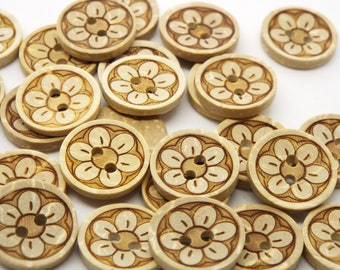Flower 2 Hole Coconut Small Round Buttons 15mm, Pack of 8