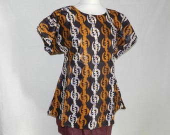 Tunic blouse small round geometric cotton fabric T34-40