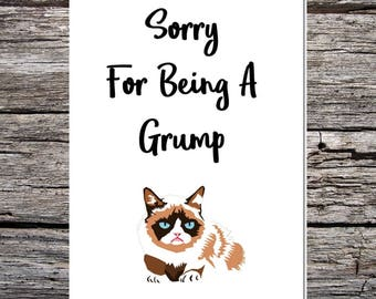 funny handmade card for husband/wife/boyfriend/girlfriend - sorry for being a grump