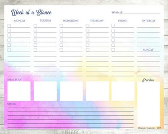 Weekly Planner PDF | Week At A Glance | Habit Tracker | Week At A Glance Printable | Weekly Calendar | Weekly Planner Insert | Watercolor