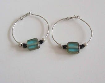 Creole earrings Silver earrings with blue azure Majorcan square glass beads