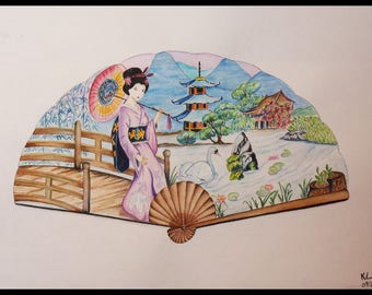 Watercolor and fan in the Japanese garden