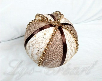 Ball 10 cm for Christmas tree, gold and brown tones