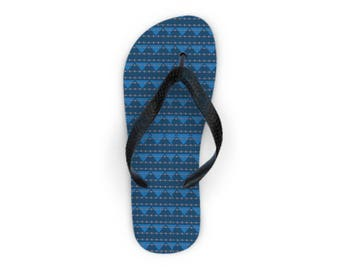 "Flip Flops, ""Aztec Blue, Made to order"""