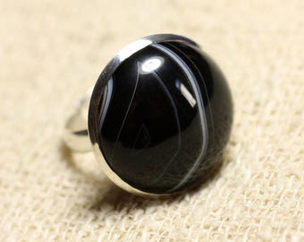 20mm round 925 sterling silver and black Agate - stone ring size adjustable