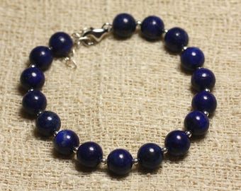 Bracelet 925 sterling silver and stone 8mm Lapis Lazuli beads