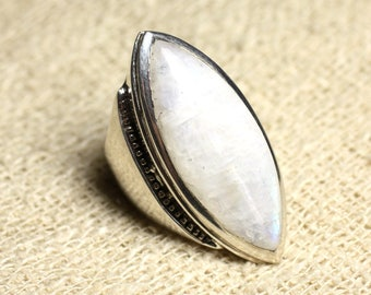N348 - Silver 925 Marquise 34x14mm Rainbow Moonstone ring