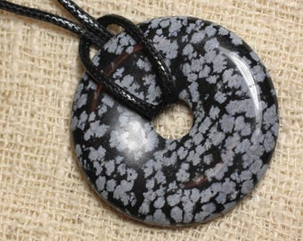 Pendant necklace - snowflake Obsidian stone speckled Donut Pi 40mm
