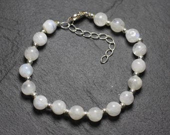 Sky 7-8mm 925 sterling silver and Rainbow Moonstone bracelet