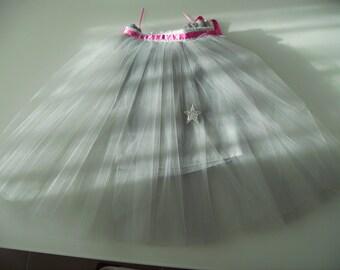 Ballerina party or ceremony gray tulle tutu skirt