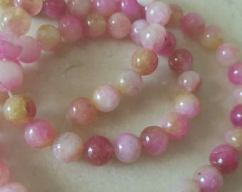 set of 10 beads of chalcedony rose genuine 6 mm