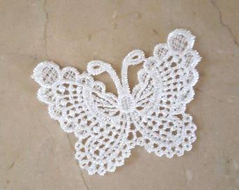 set of 2 Butterfly appliques lace 6.5 x 7.4 cm
