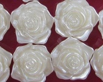 set of 50 half Pearl cabochons 12mm ivory flower